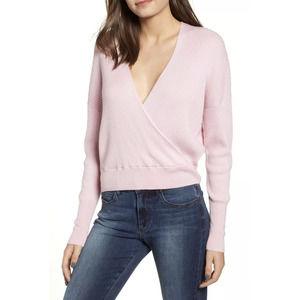 Leith Rib Wrap Sweater Top Pink Long Sleeve